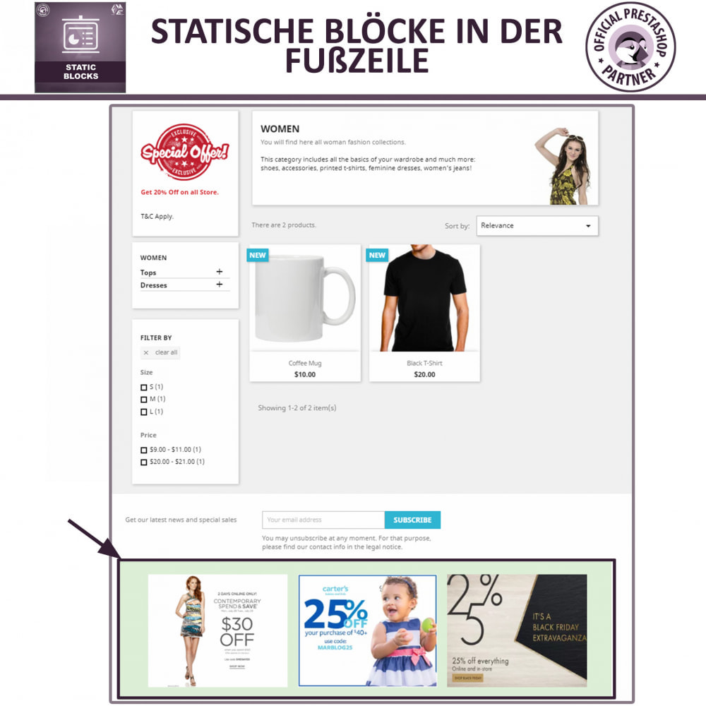 module - Blocks, Reiter & Banner - Statische Blöcke - Fügen Sie HTML- und Textblöcke hinzu - 4