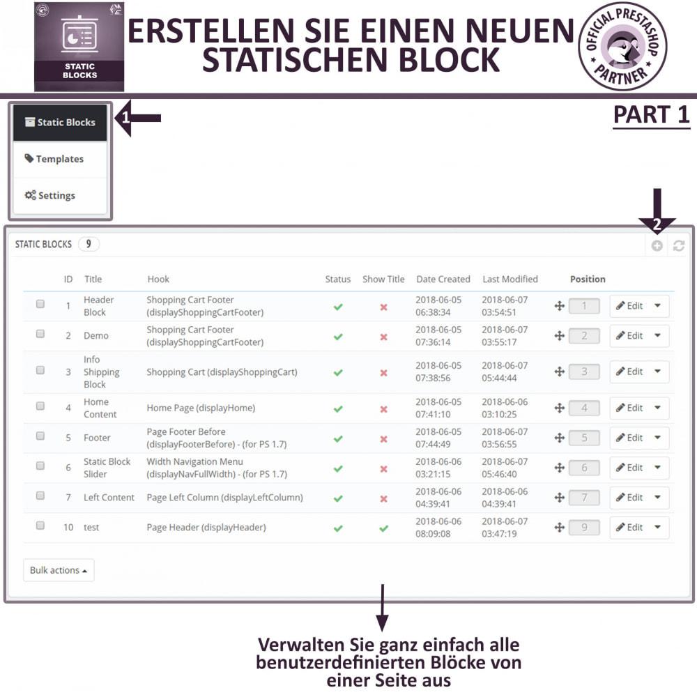 module - Blocks, Reiter & Banner - Statische Blöcke - Fügen Sie HTML- und Textblöcke hinzu - 6