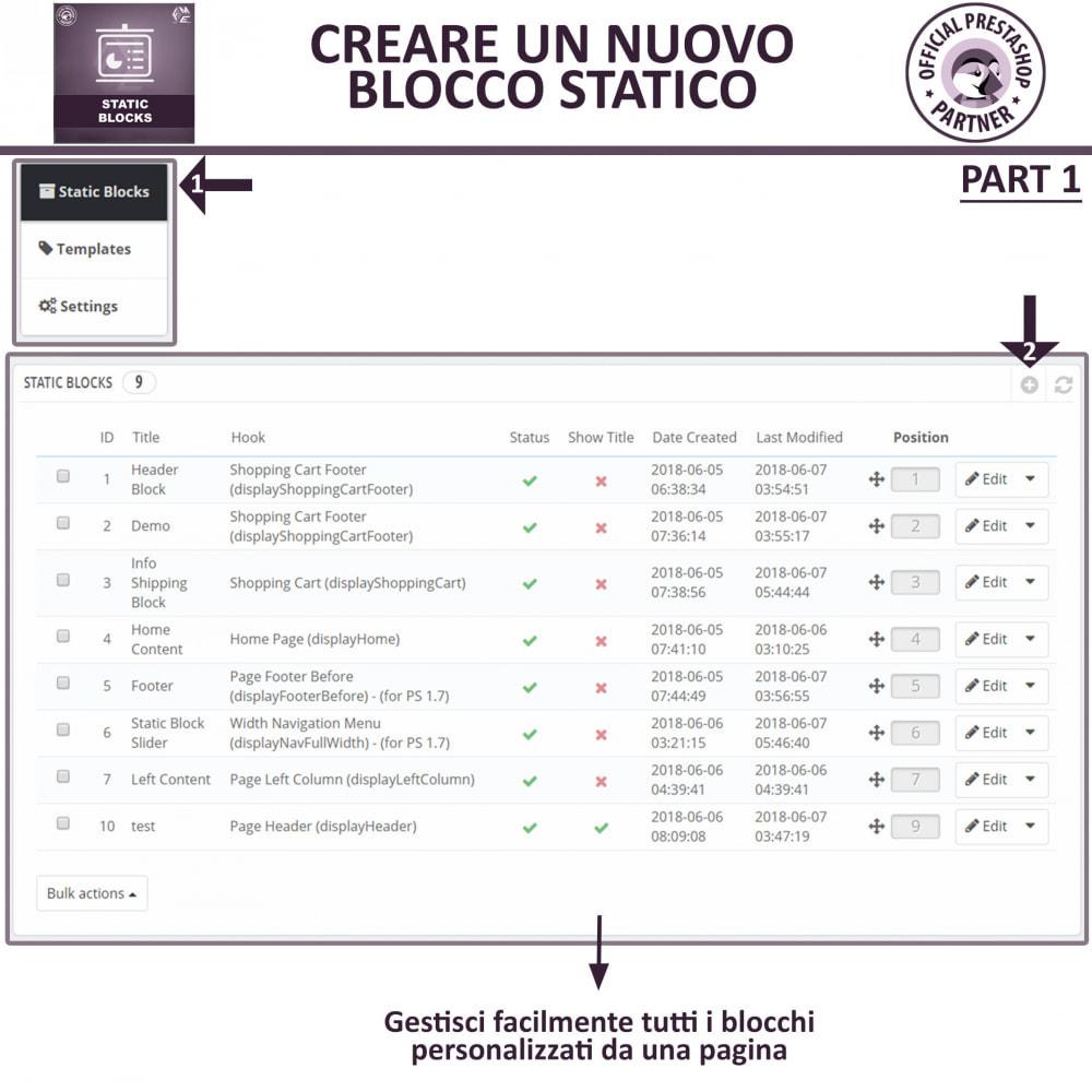 module - Blocchi, Schede & Banner - Blocchi Statici - Aggiungi HTML, Testi e Media Blocchi - 6