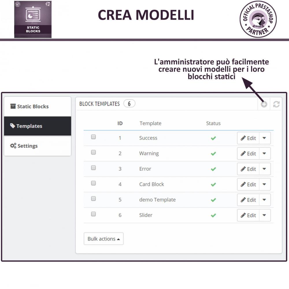 module - Blocchi, Schede & Banner - Blocchi Statici - Aggiungi HTML, Testi e Media Blocchi - 12