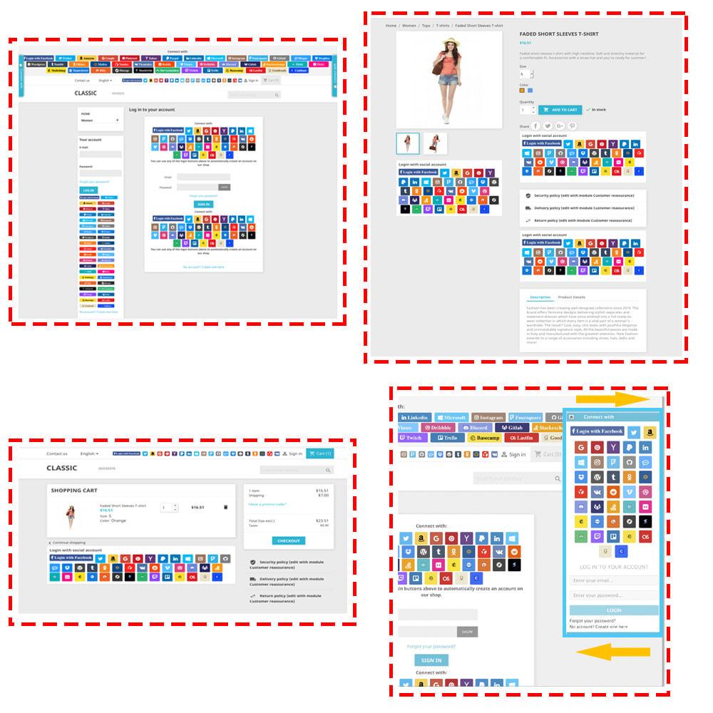module - Botones de inicio de Sesión/Conexión - Sociales Conexiones y Cupón 40 en 1 + Estadísticas - 2