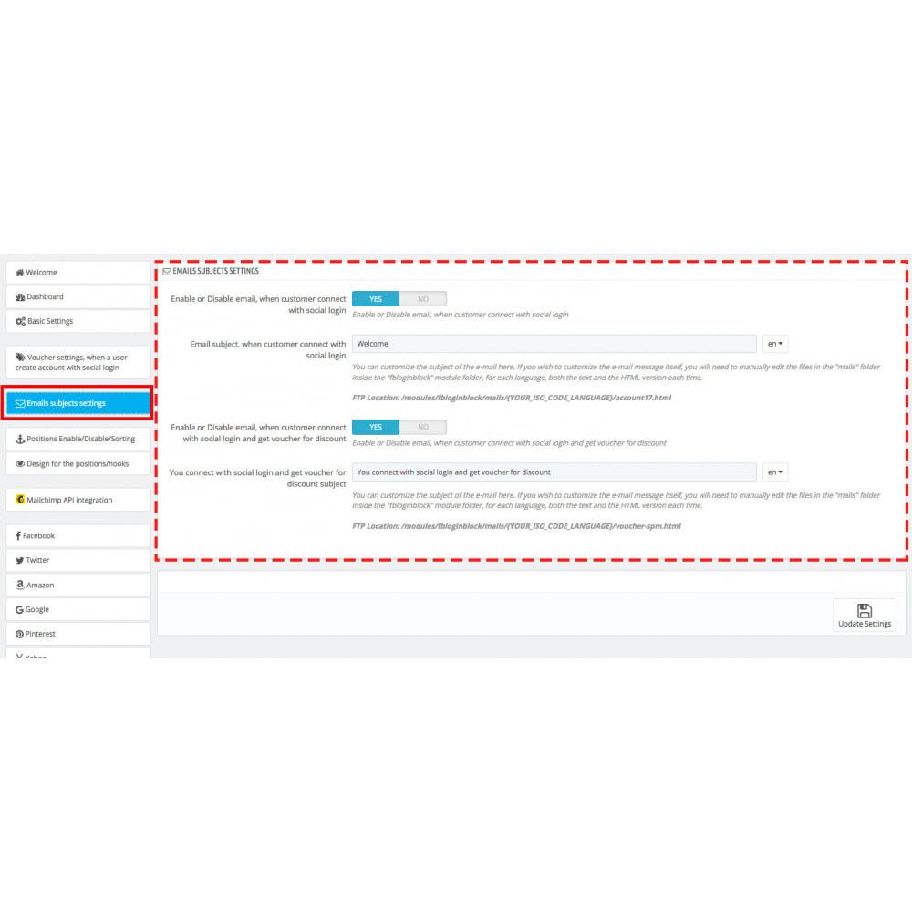 module - Módulos de Botões de Login & Connect - Social Logins 35 in 1, Discounts, MailChimp, Statistics - 19