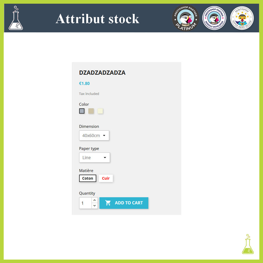 module - Versies & Personalisering van producten - Display of combinations/attributes with stock - 3