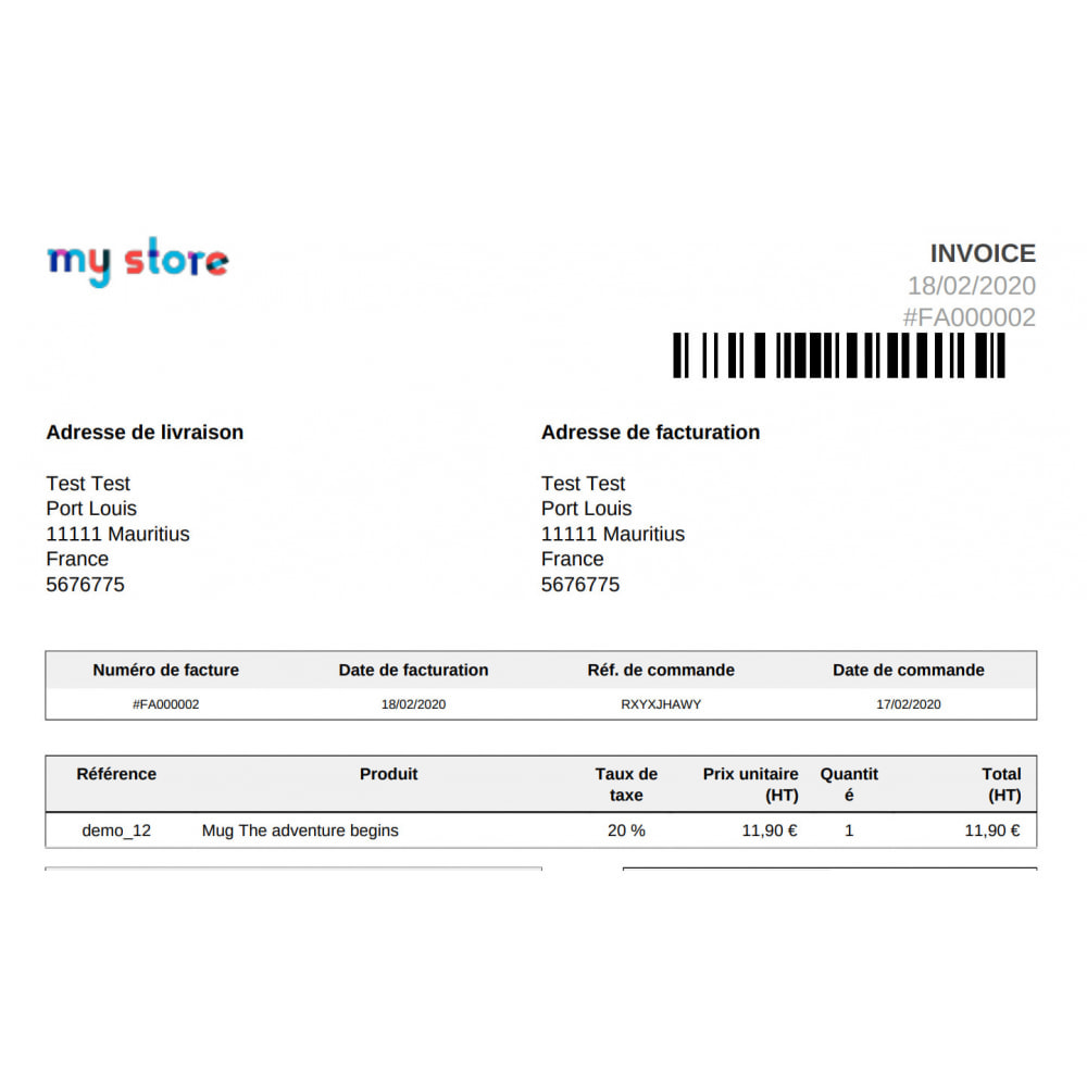 module - Orderbeheer - Barcode 128 on invoices Coliship - 1