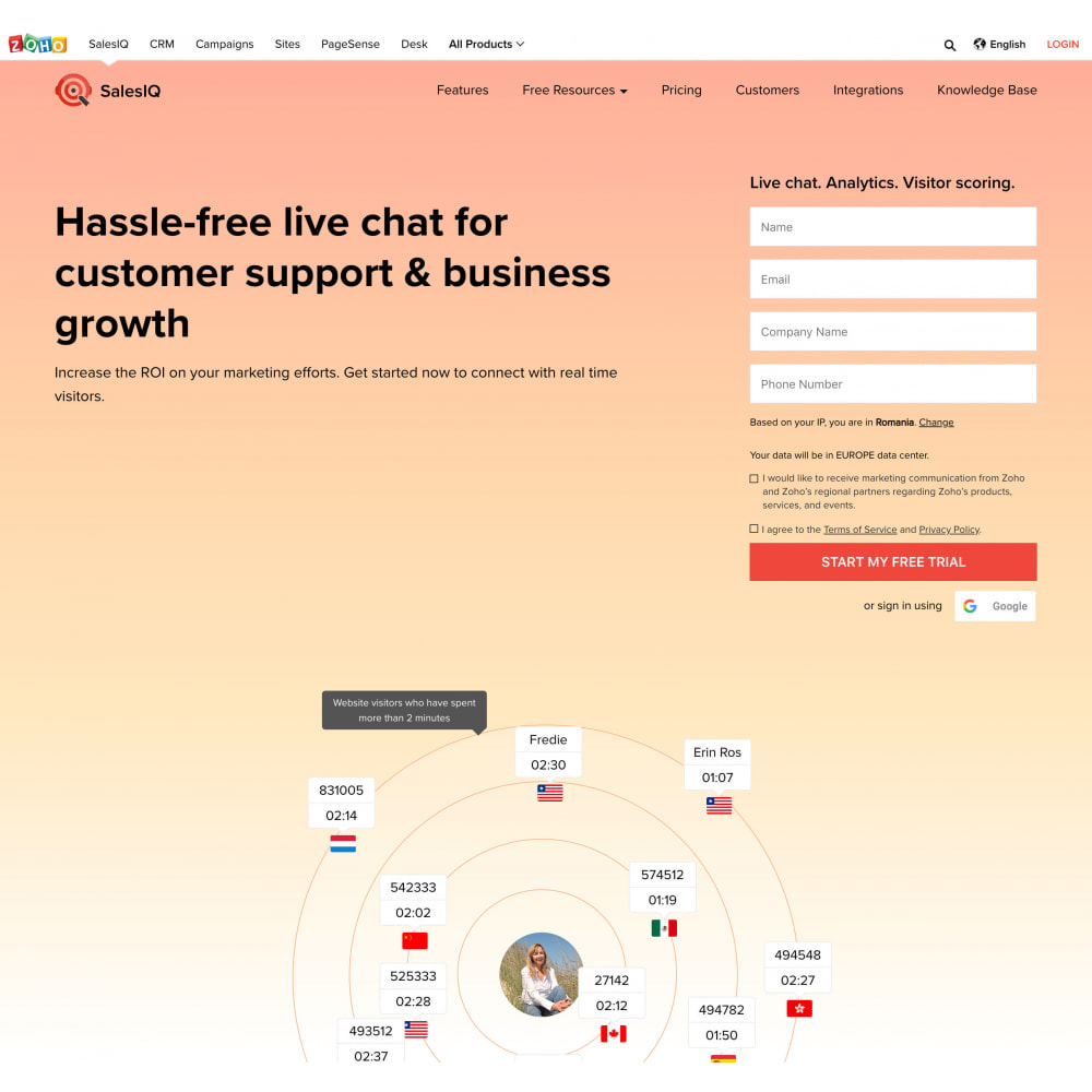 module - Ondersteuning & Online chat - Zoho SalesIQ Live Chat Customer Support with free plan - 3