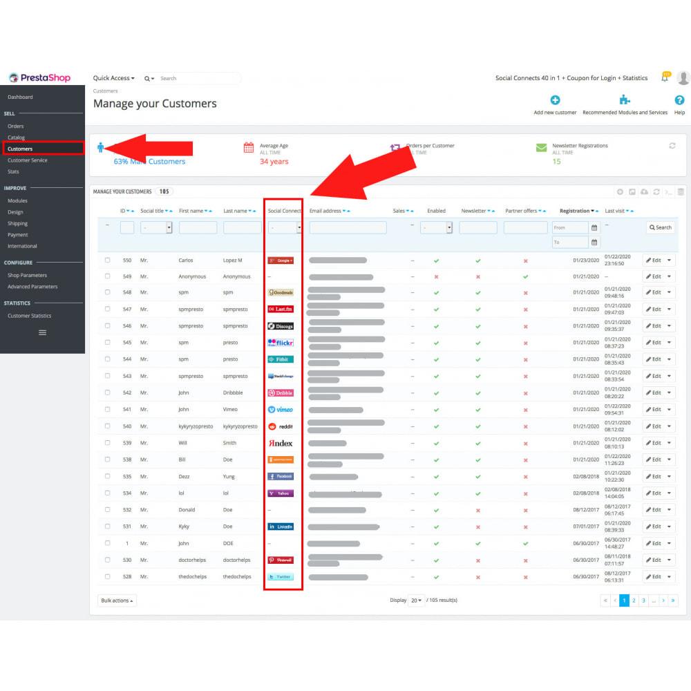 module - Módulos de Botões de Login & Connect - Social Connects 40 in 1 + Coupon for Login + Statistics - 16