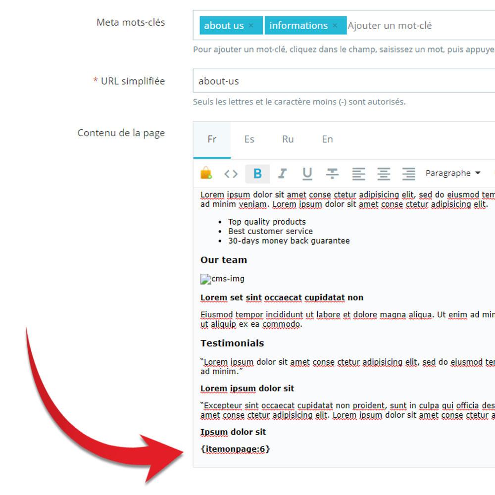 module - Produits en page d'accueil - Produits sur les pages CMS - 6