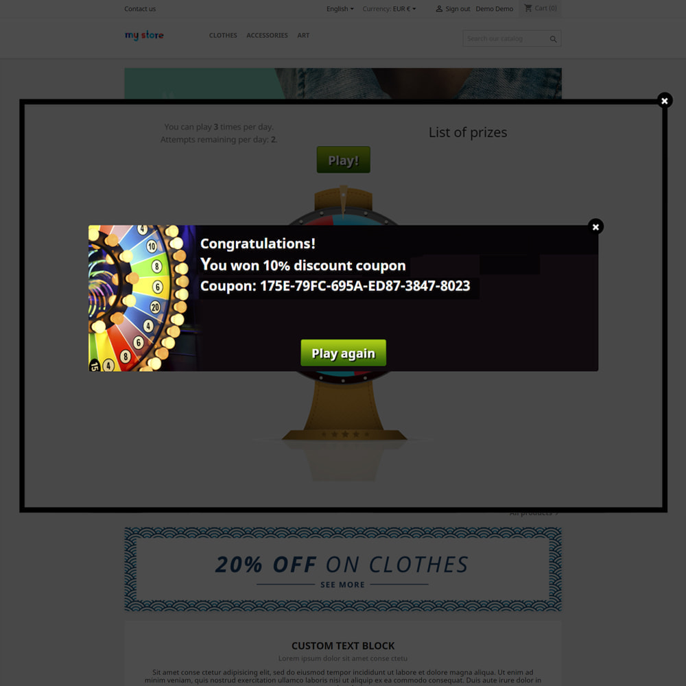 module - Contests - Wheel of Fortune, discounts and gifts to customers - 7