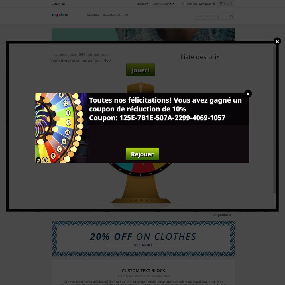 module - Jeux-concours - Roue de la Fortune, remises et cadeaux aux clients - 7