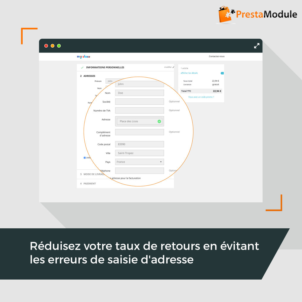 module - Inscription & Processus de commande - Easy Places - 2