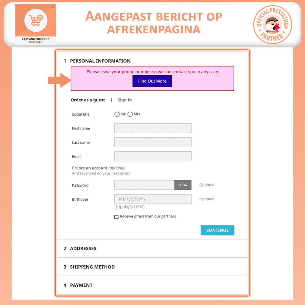 module - Registratie en Proces van bestellingen - Winkelwagen en Afrekenen Berichten - 3