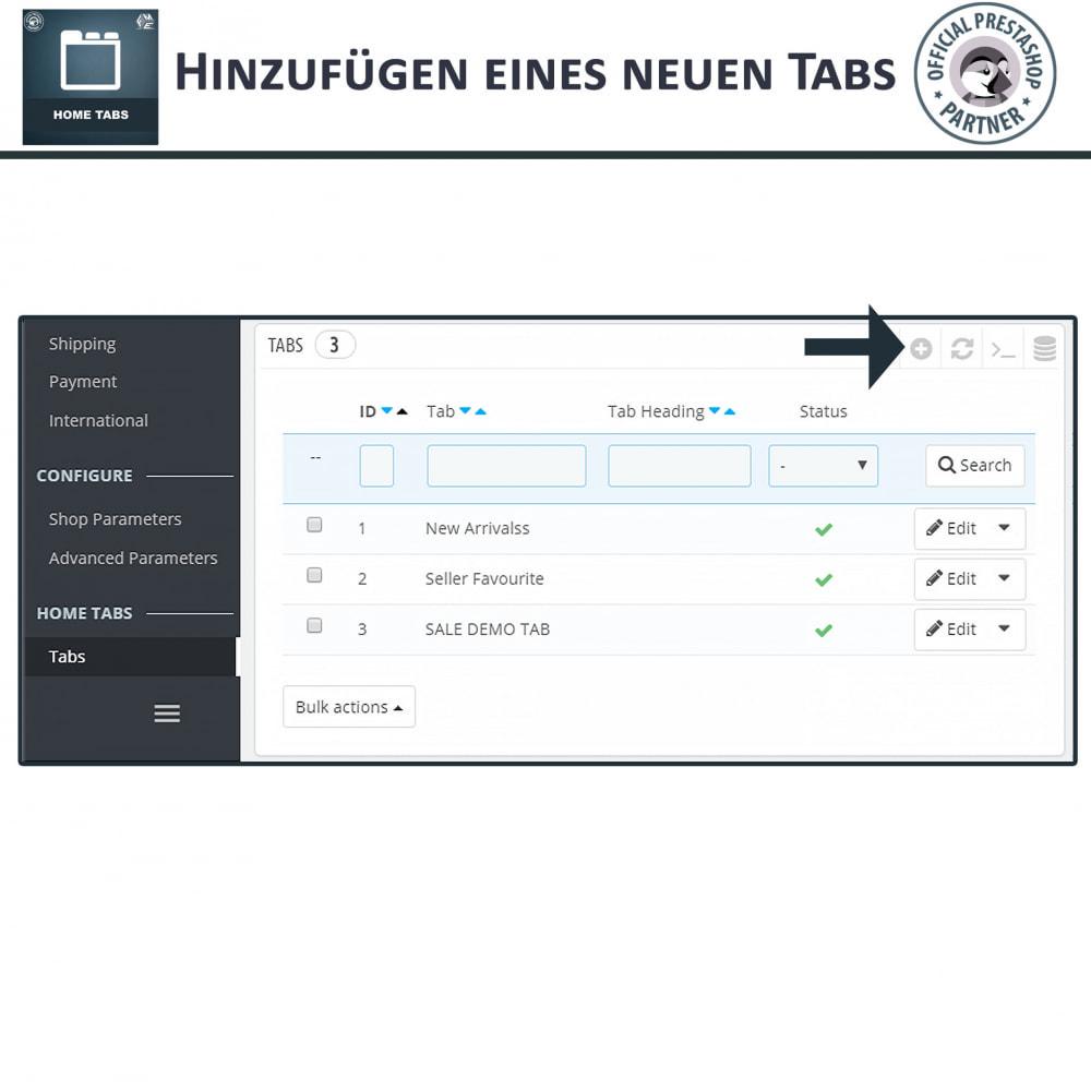 module - Blocks, Reiter & Banner - Home Tabs - Produkte hinzufügen Tabs sortieren - 5