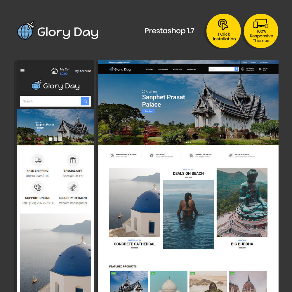 theme - Sports, Activities & Travel - Glory Tours - Online Ticket Travel Store - 1
