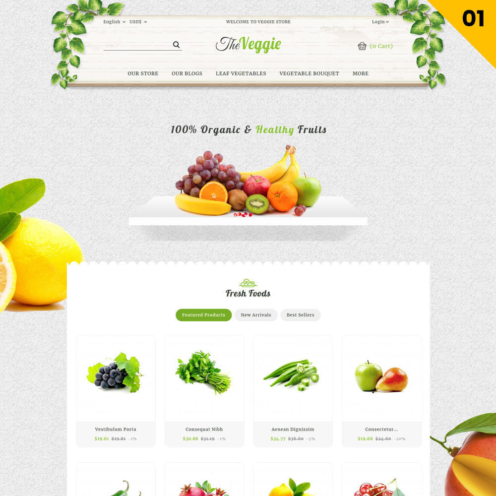 theme - Alimentation & Restauration - Veggie - Le magasin bio - 4