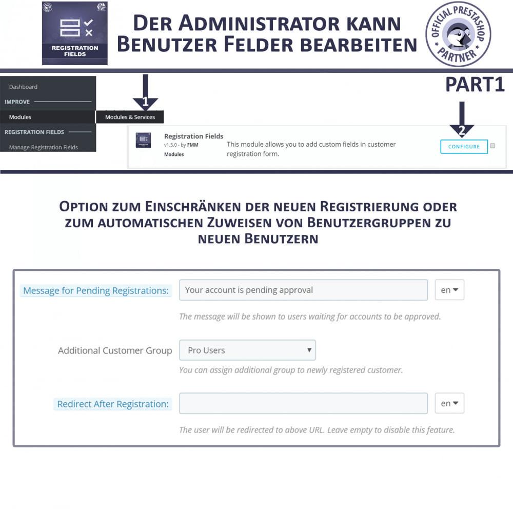 module - Anmeldung und Bestellvorgang - Registrierung Felder, Fügen Sie Kundenattribute - 7