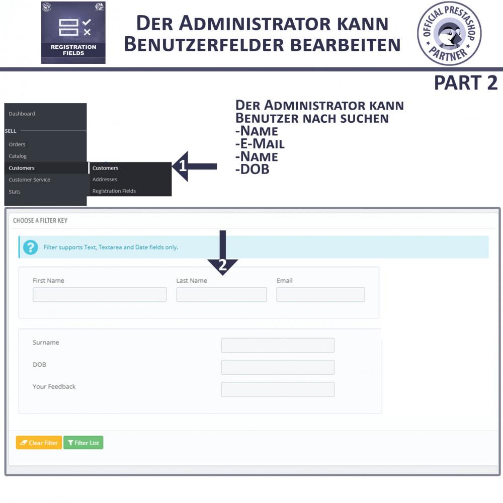 module - Anmeldung und Bestellvorgang - Registrierung Felder, Fügen Sie Kundenattribute - 8