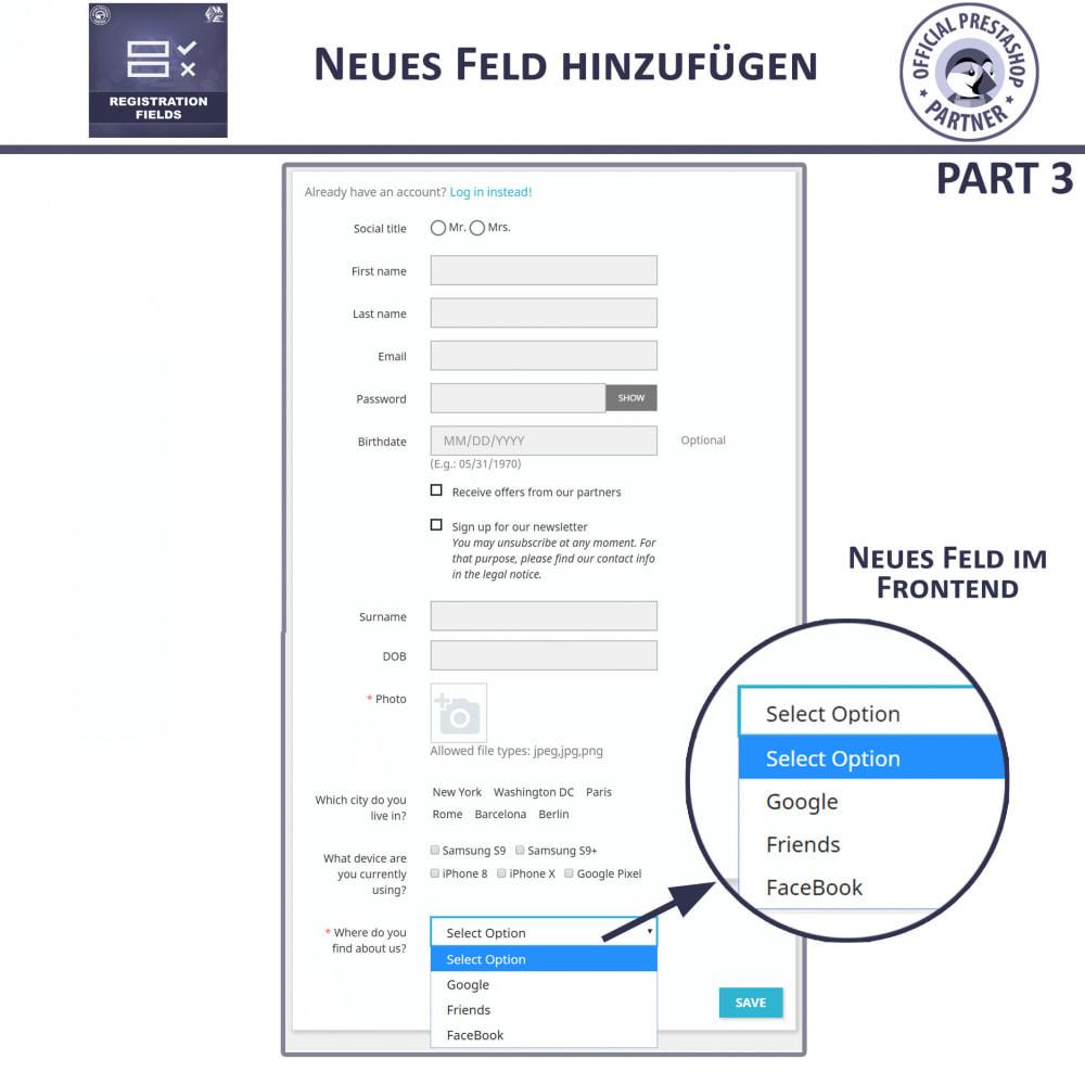 module - Anmeldung und Bestellvorgang - Registrierung Felder, Fügen Sie Kundenattribute - 12