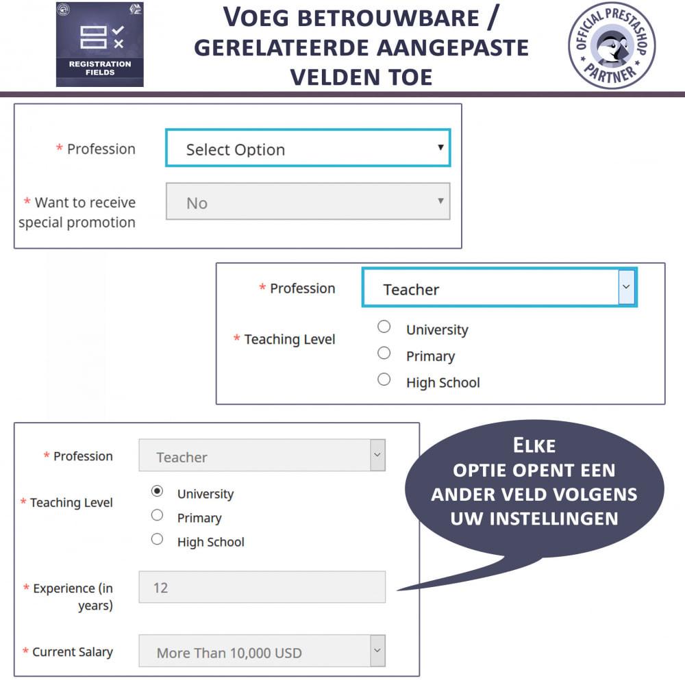 module - Registratie en Proces van bestellingen - Aangepaste Registratievelden-Validatie Van Registratie - 2