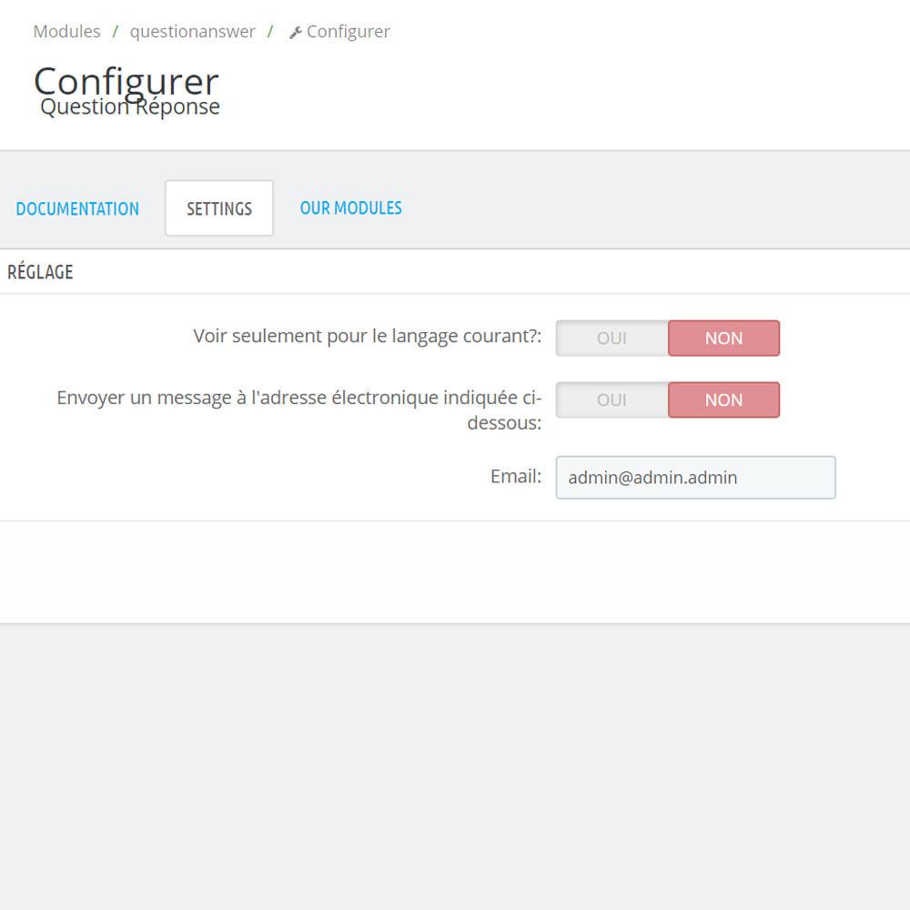 module - FAQ (questions fréquentes) - Réponse à la question dans le produit - 8