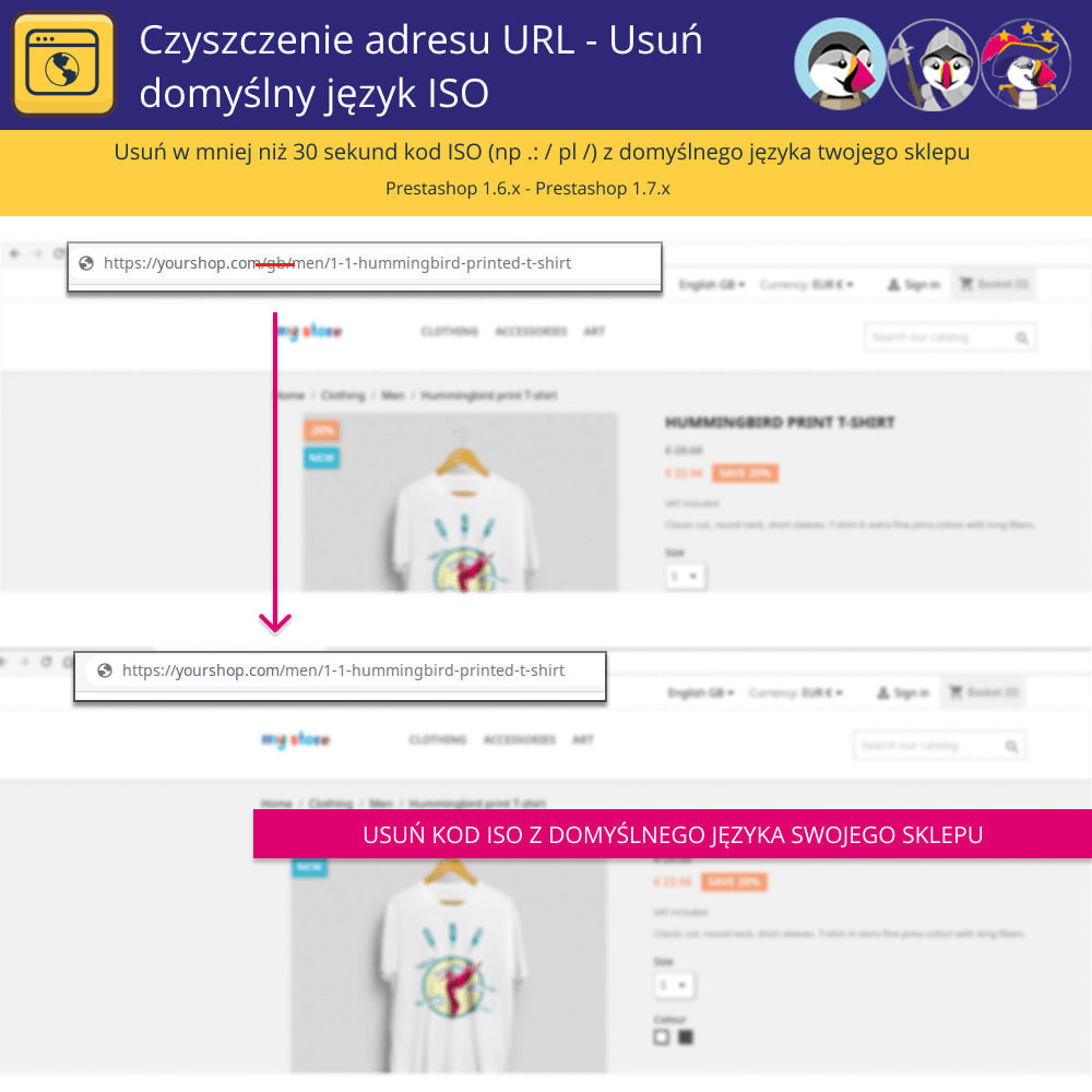 module - URL & Przekierowania - URL Cleaner - Usuń język domyślny Iso - 2