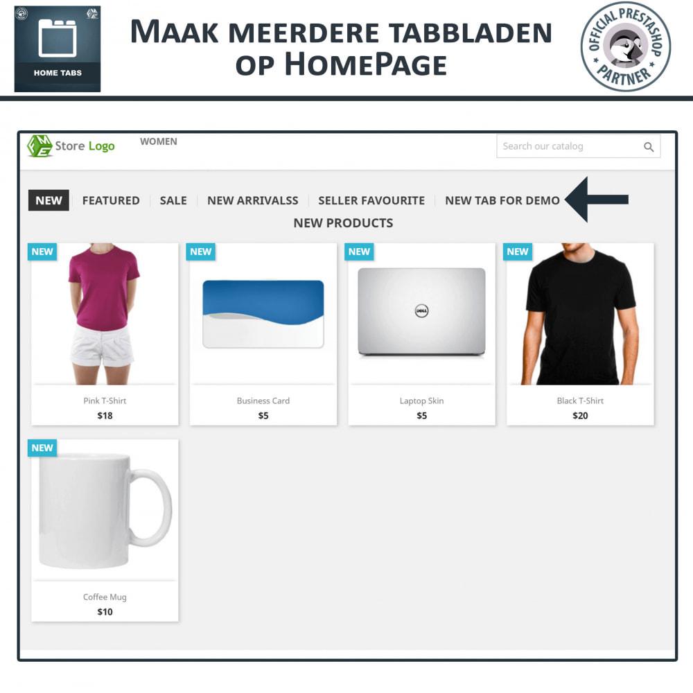 module - Blokken, Tabbladen & Banners - Home-Tabbladen - Voeg aangepaste tabbladen toe - 2