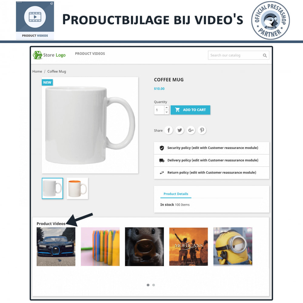 module - Video's & Muziek - Productvideo's - Upload of sluit YouTube, Vimeo in - 4