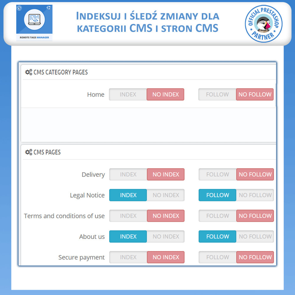 module - SEO (Pozycjonowanie naturalne) - Meta Robot Tags - NoFollow NoIndex Manager - 3