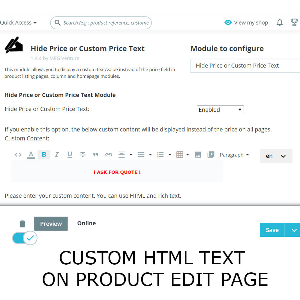 module - Gestión de Precios - Ocultar precio o texto de precio personalizado - 3