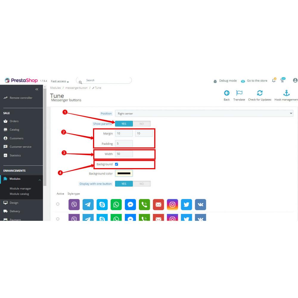 module - Ondersteuning & Online chat - Messengers buttons: FB Instagram Skype WhatsApp Viber. - 9