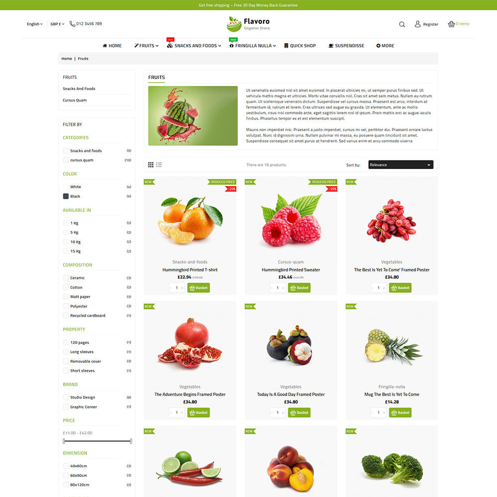 theme - Food & Restaurant - Flavoro - Fresh Organic Food Delivery Store - 9