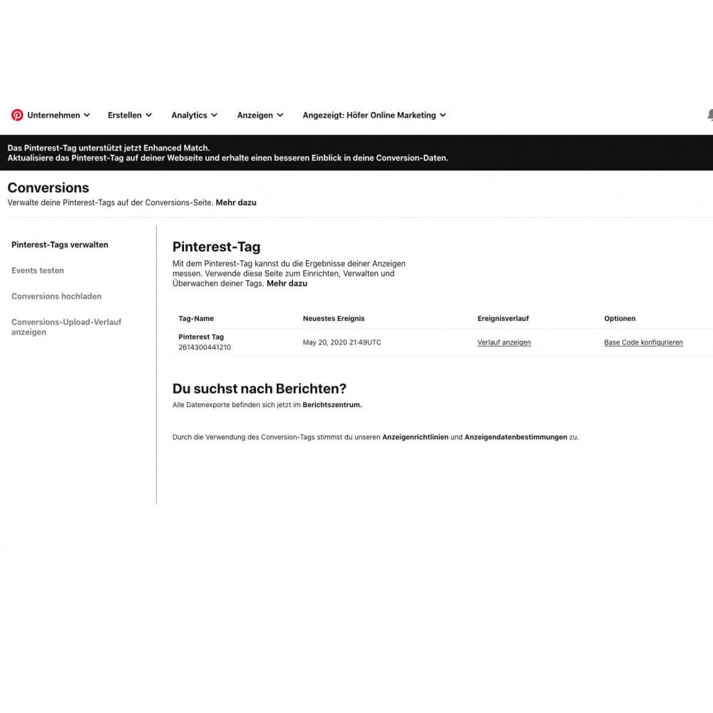 module - Analysen & Statistiken - Pinterest Tag Tracking - 4
