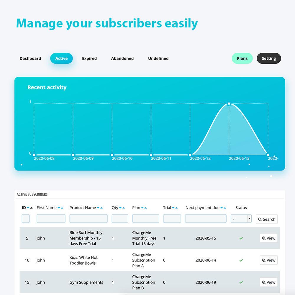 module - Paiement récurrent (abonnement) - ChargeMe - Paiements automatiques et récurrents - 2
