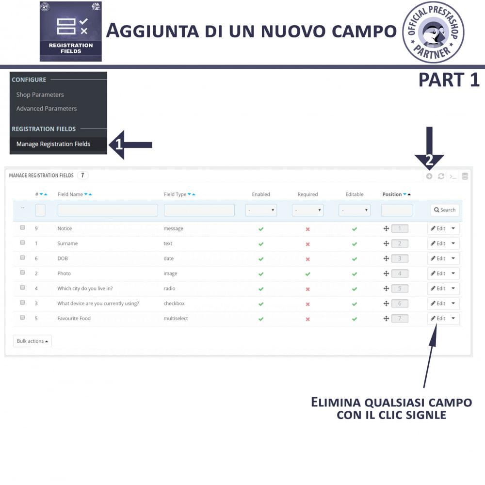 module - Iscrizione e Processo di ordinazione - Campi di Registrazione Personalizzati - Convalida - 10