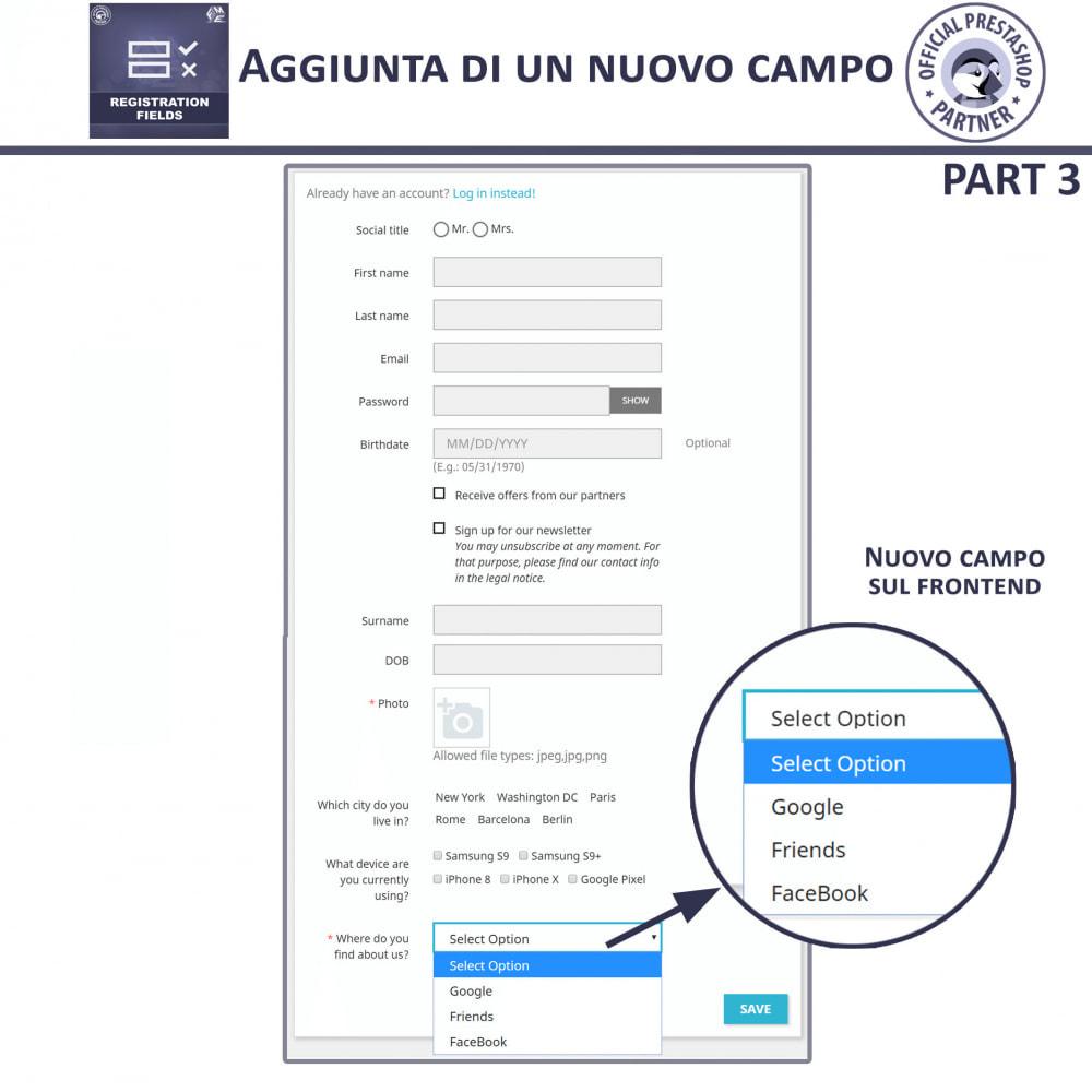 module - Iscrizione e Processo di ordinazione - Campi di Registrazione Personalizzati - Convalida - 12