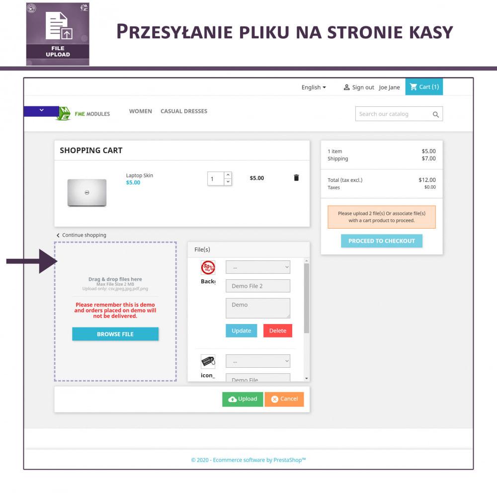 module - Dodatkowe informacje & Zakładka produktu - Przesyłanie Pliku Przez Klienta z Produktu, Cart - 5