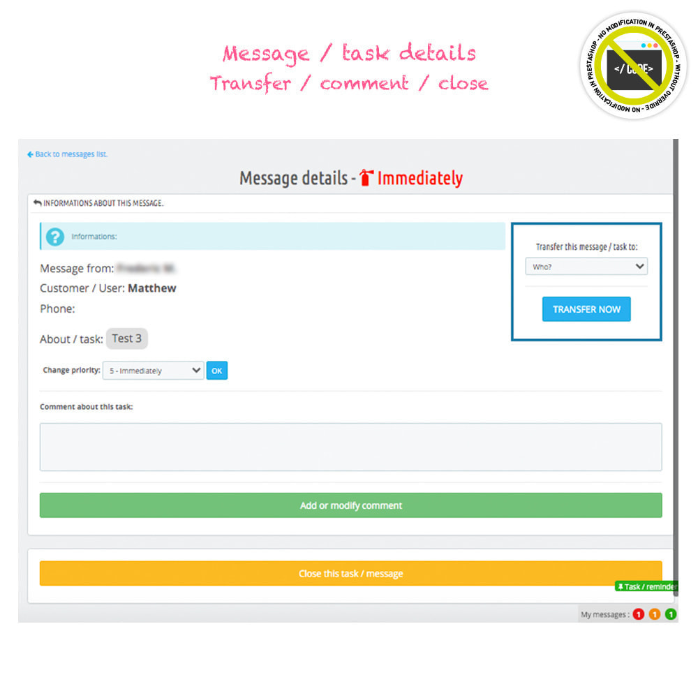 module - Administratieve tools - Todo, tasks, internal messages from backend - 4