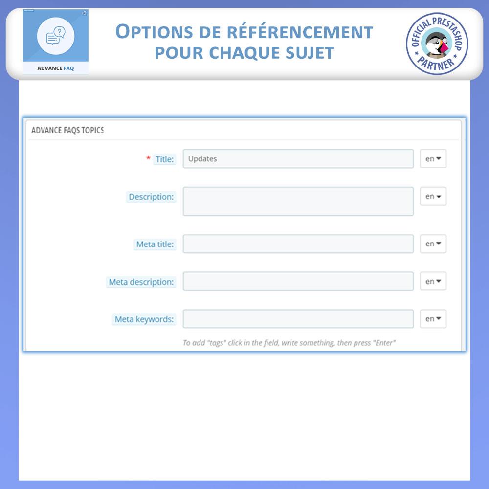 module - FAQ (questions fréquentes) - FAQ Avancée - 11