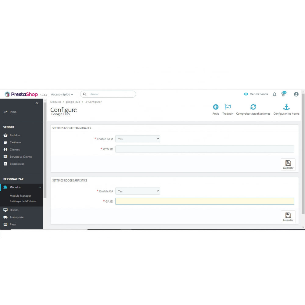 module - Informes y Estadísticas - Easy Google Duo - 2