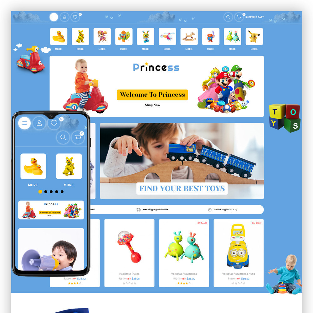 theme - Kids & Toys - Princess - Kids Store - 1