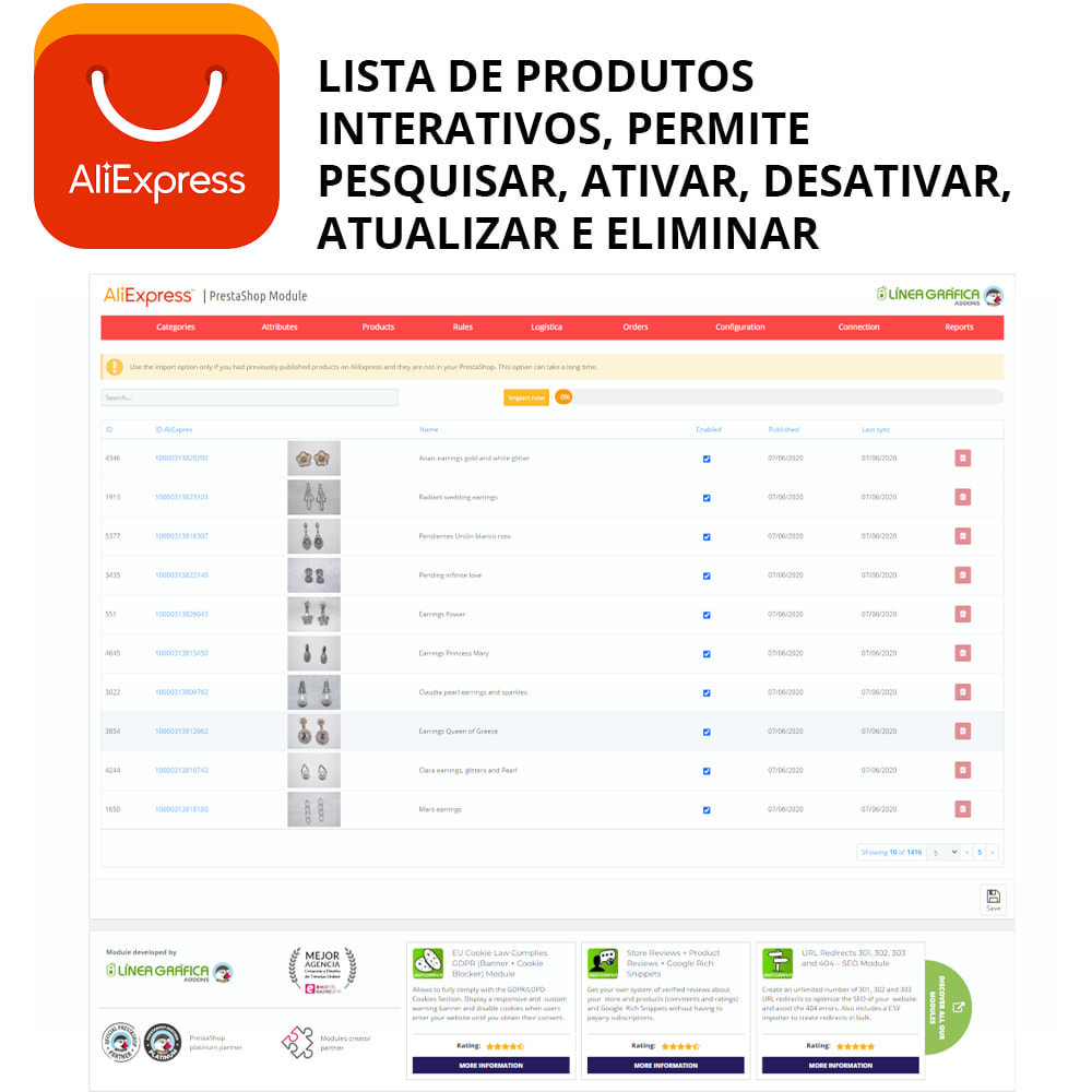 module - Revenda (marketplace) - AliExpress Official - 2