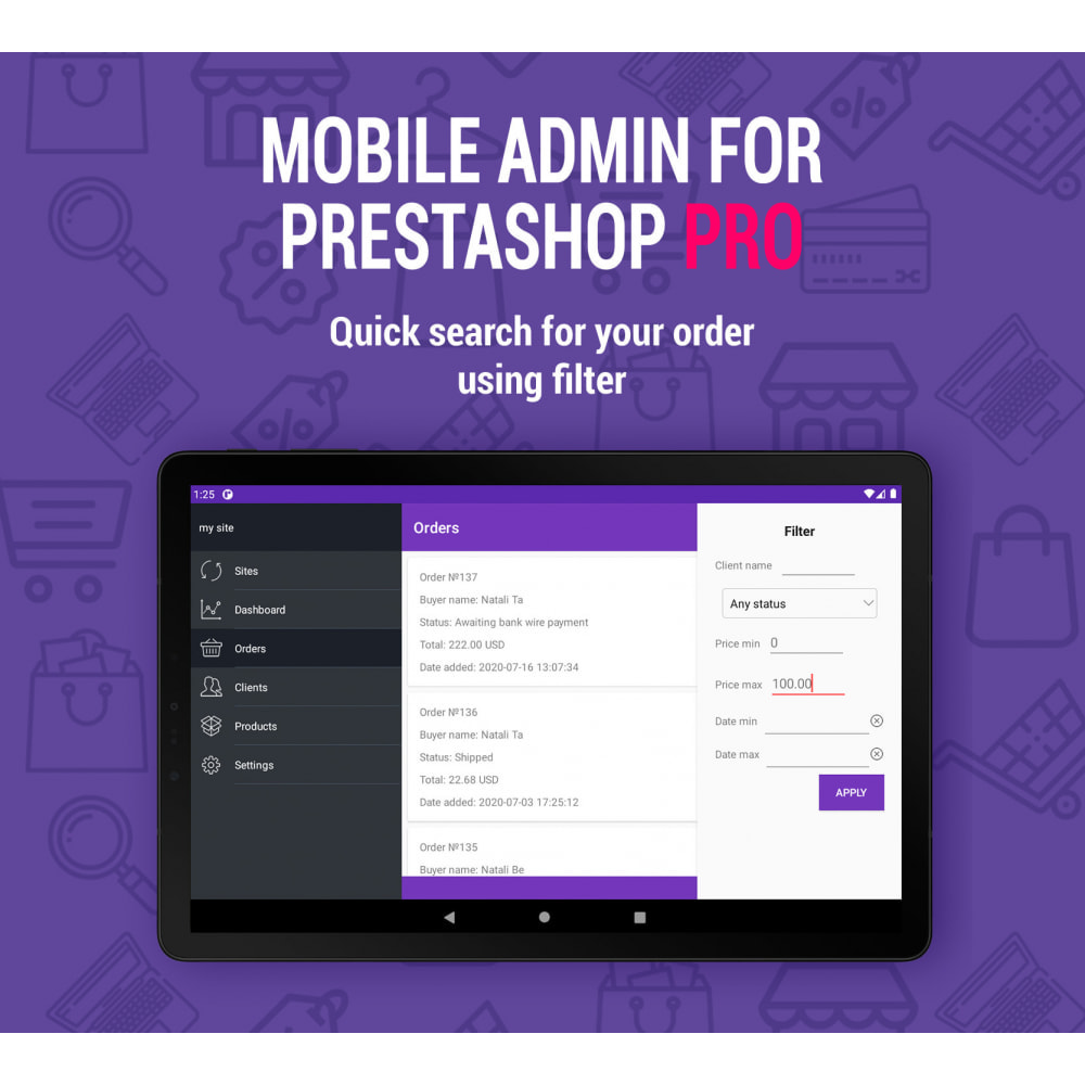 module - Mobile - Mobile Admin for unlimited managers, sites iOs&Android - 3