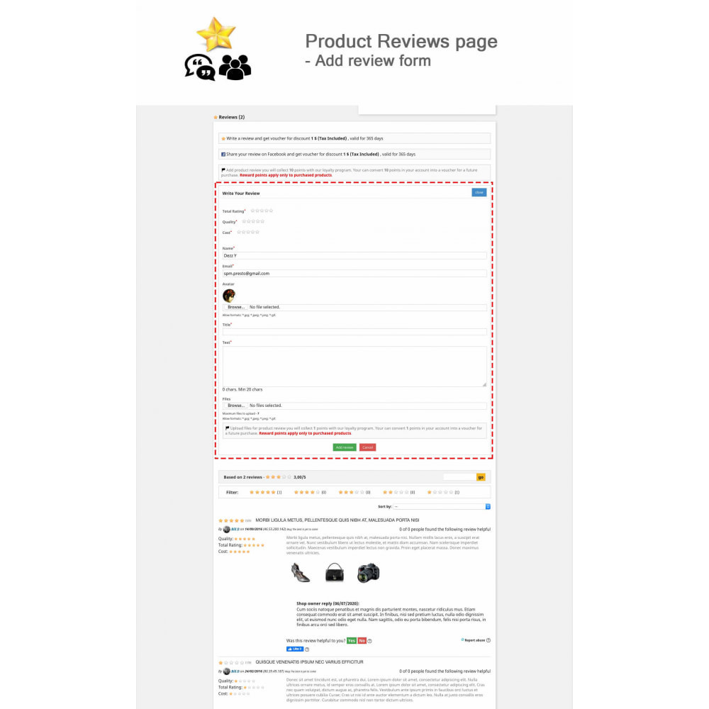 module - Avis clients - Avis sur les produits + Boutique, Programmes fidélité - 2