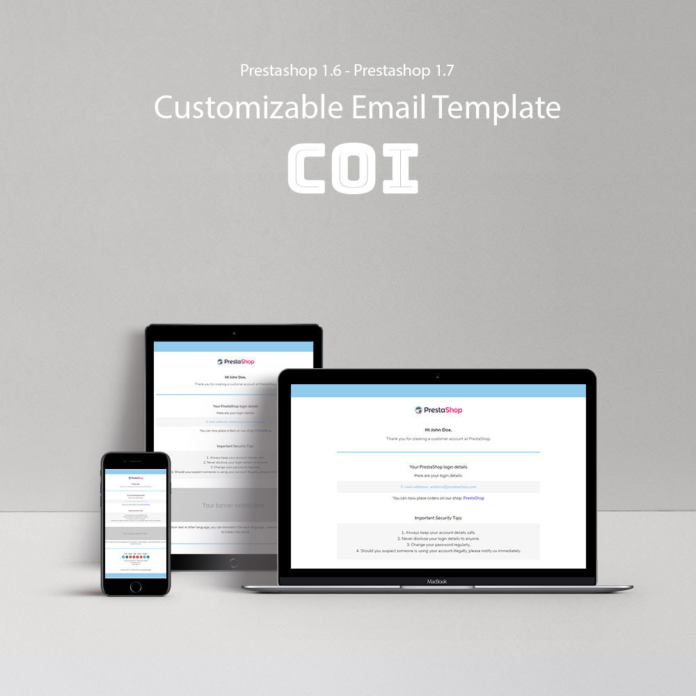 email - Email templates PrestaShop - Coi - Template emails and for emails of module - 1