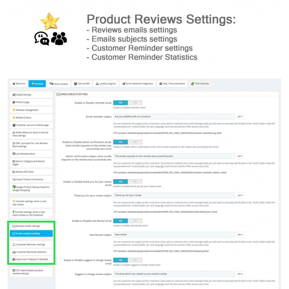module - Kundenbewertungen - Product Reviews+Shop Reviews, Loyalty Program, Reminder - 35