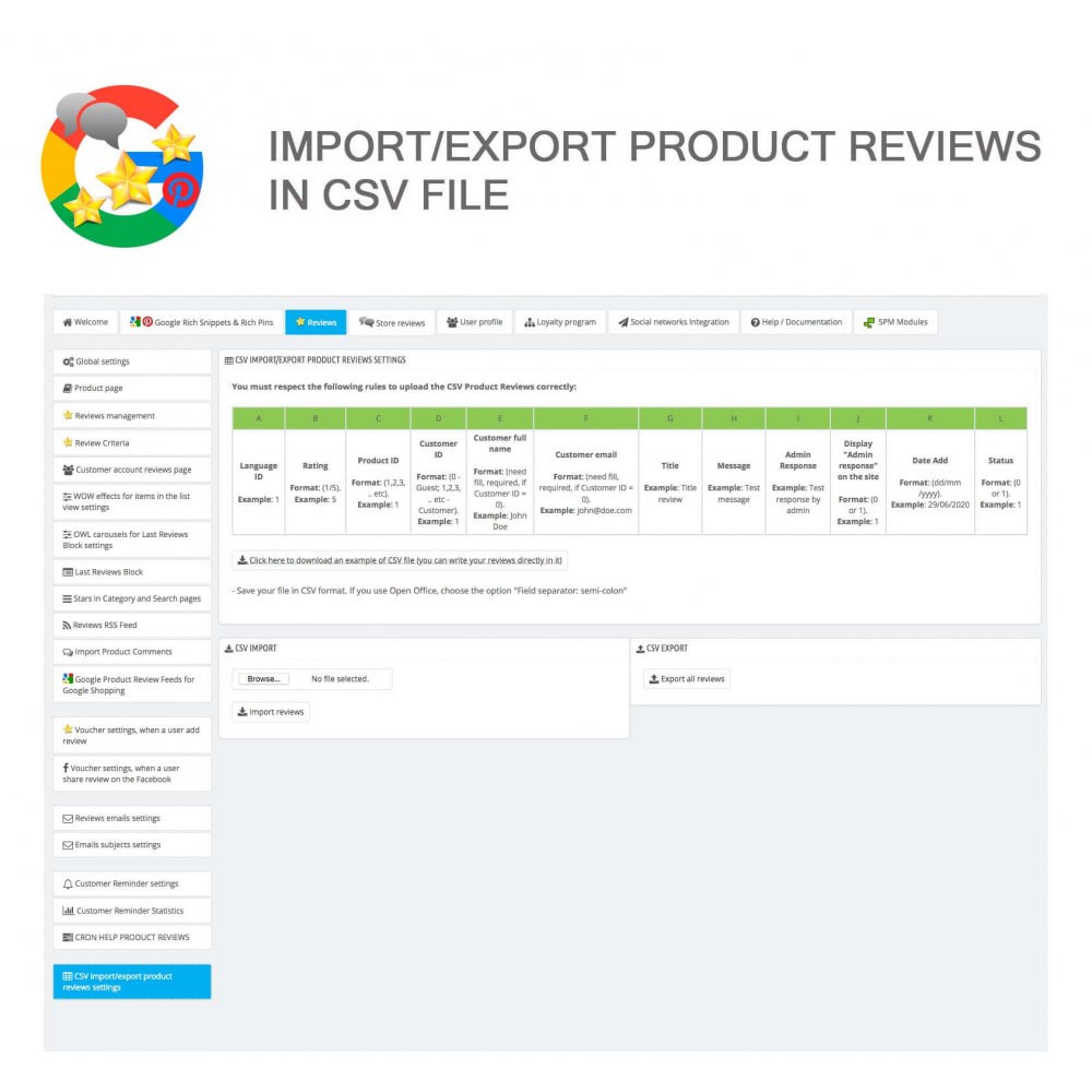 module - Avis clients - Produit+Boutique Avis, Points fidélité, Google Snippets - 44