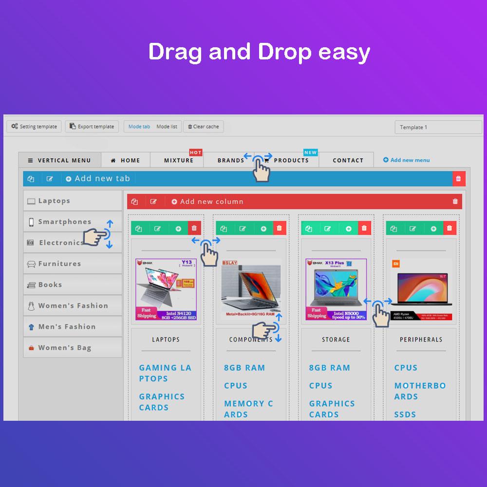 module - Меню - Mega Menu Premium - Design drag/drop Easier - 5