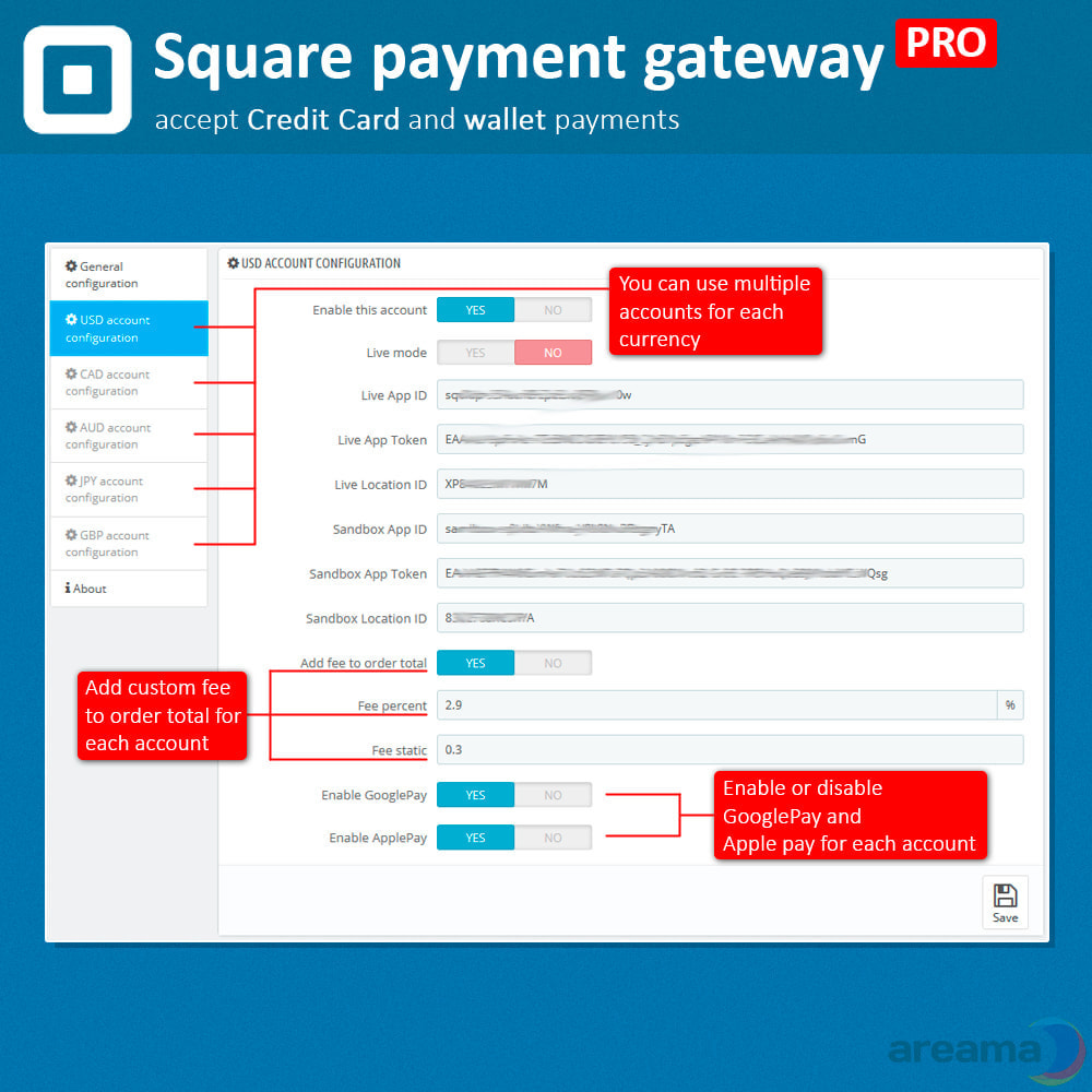 module - Zahlung per Kreditkarte oder Wallet - Square Payment Gateway PRO - Card and Wallet payments - 4