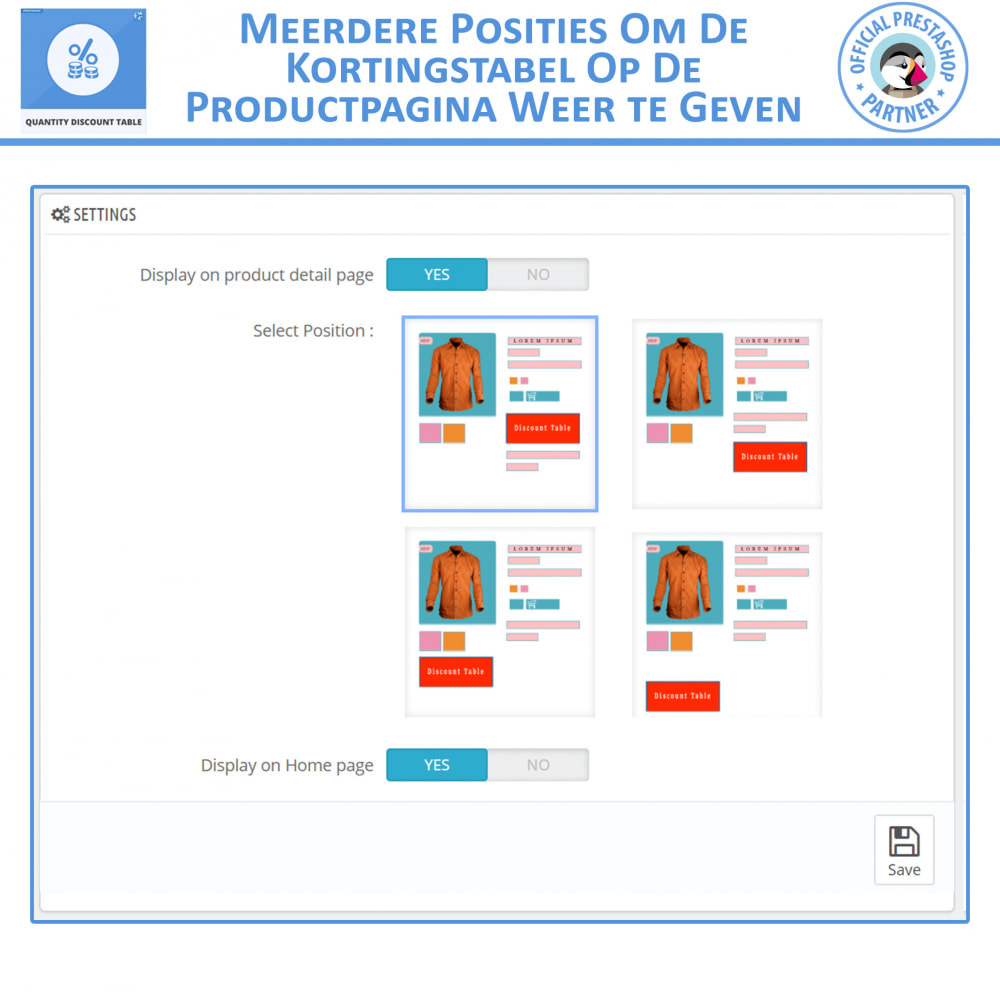 module - Promoties & Geschenken - Hoeveelheid Kortingstabel - 4