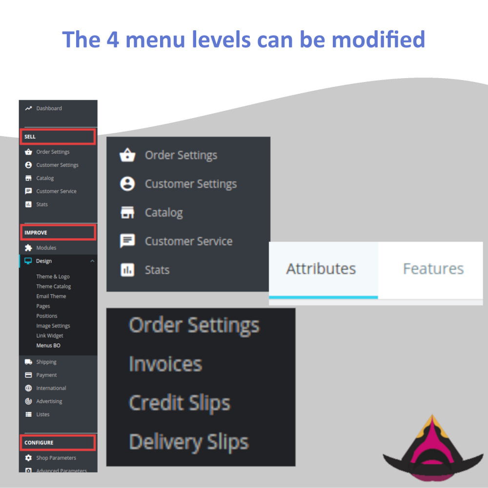 module - Меню - Manage the layout of the admin menus - 4