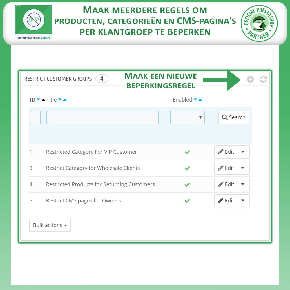 module - Bijkomende Informatie - Beperk producten, categorie en CMS op klantgroepen - 2